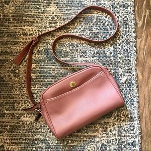 NICOLE MILLER Mauve Faux Leather Crossbody Purse